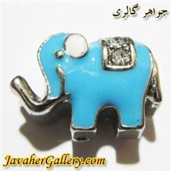 آویز نقره گردنبند و دستبند پاندورا آبی طرح فیل با نگینهای درخشان