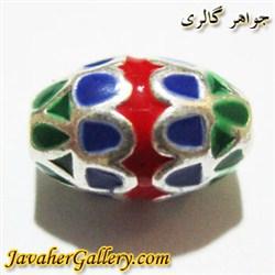 آویز ( حلقه ) نقره دستبند قرمز آبی سبز  کشیده