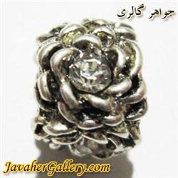 آویز نقره گردنبند و دستبند پاندورا طرح گل با نگینهای سفید درخشان