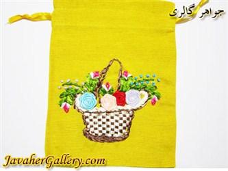 کیف کتانی دست دوز زرد با سبد و گلهای ابریشمی رنگارنگ