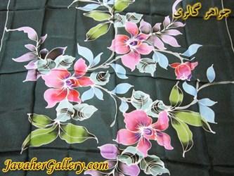 روسری ابریشمی خالص دست بافت رنگ آمیزی شده با دست بسیار نفیس سبز