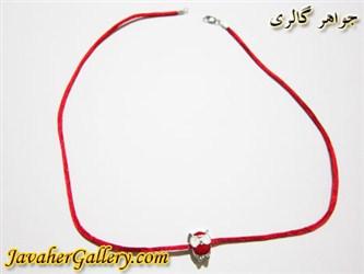 گردنبند نقره و ابریشمی قرمز با آویز جغد قرمز و سفید مردانه و زنانه