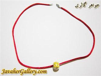 گردنبند نقره و ابریشمی قرمز با آویز زرد و برگهای طلایی مردانه و زنانه