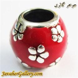حلقه نقره دستبند و گردنبند پاندورا قرمز با گلهای سفید