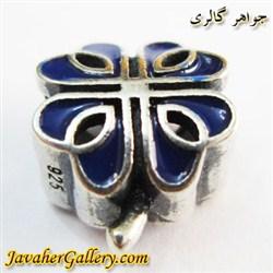 حلقه نقره دستبند و گردنبند پاندورا آبی طرح گل خاص و زیبا