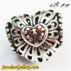 حلقه نقره دستبند و گردنبند پاندورا طرح قلب با سنگهای یاقوت لوکس
