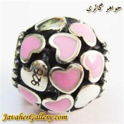 حلقه نقره دستبند و گردنبند پاندورا با قلبهای کوچک صورتی و سفید