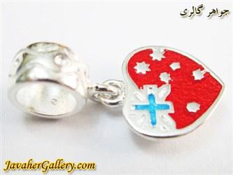 حلقه نقره دستبند و گردنبند پاندورا آویزی قرمز با طرح قلب