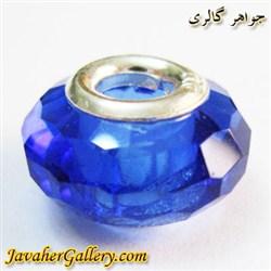 حلقه نقره گردنبند و دستبند پاندورا با کریستال آبی پر رنگ شفاف و درخشان