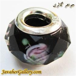 حلقه گردنبند و دستبند نقره پاندورا با کریستال شفاف مشکی طرح گل رز