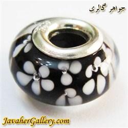 حلقه گردنبند و دستبند نقره پاندورا مشکی و شفاف با گلهای سفید لوکس و زیبا