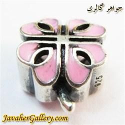 حلقه گردنبند و دستبند نقره پاندورا طرح گل خاص صورتی
