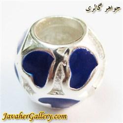 حلقه گردنبند و دستبند نقره پاندورا درخشان با قلبهای آبی زیبا