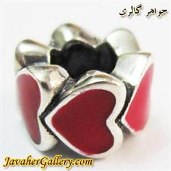 حلقه نقره دستبند و گردنبند پاندورا با طرح قلبهای قرمز