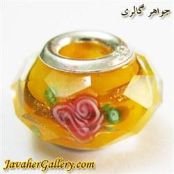 حلقه گردنبند و دستبند نقره پاندورا با کریستال شفاف نارنجی طرح گل
