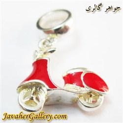 حلقه نقره دستبند و گردنبند پاندورا آویزی قرمز با طرح موتور