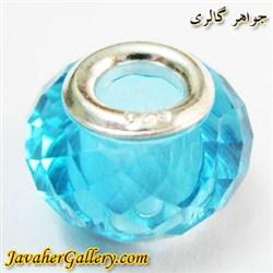 حلقه گردنبند و دستبند نقره پاندورا با کریستال شفاف آبی درخشان