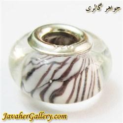 حلقه گردنبند و دستبند نقره پاندورا شفاف با خطهای قهوه ای