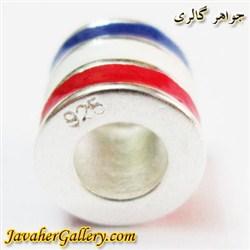 حلقه گردنبند و دستبند نقره پاندورا با خطهای آبی سفید قرمز