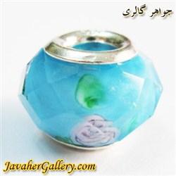 حلقه گردنبند و دستبند نقره پاندورا با کریستال شفاف آبی طرح گل