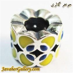 حلقه گردنبند و دستبند نقره پاندورا استوانه ای با رنگهای زرد و آبی زیبا