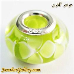 حلقه دستبند و گردنبند نقره پاندورا سبز و زرد شفاف با گلهای زیبا