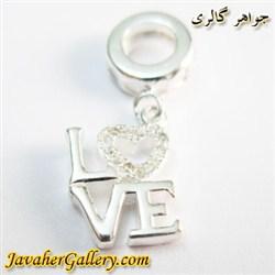 حلقه نقره دستبند و گردنبند پاندورا آویزی با طرح عشق love و نگینهای زیرکن