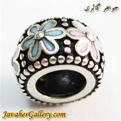 حلقه نقره دستبند و گردنبند پاندورا با گلهای زیبای آبی و صورتی