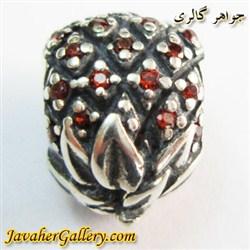 حلقه گردنبند و دستبند نقره پاندورا اصل طرح آناناس با نگینهای یاقوت درخشان