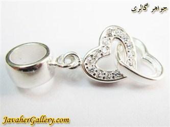 حلقه نقره دستبند و گردنبند پاندورا آویزی طرح دو قلب با نگینهای زیرکن لوکس