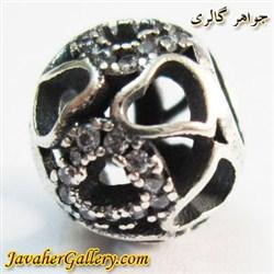 حلقه دستبند و گردنبند نقره پاندورا طرح قلب با نگینهای زیرکن
