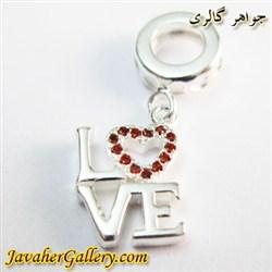 حلقه نقره دستبند و گردنبند پاندورا آویزی طرح قلب و love با یاقوتهای درخشان