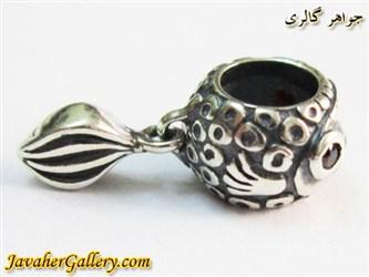 حلقه دستبند و گردنبند نقره پاندورا طرح ماهی دم دار با نگینهای یاقوت