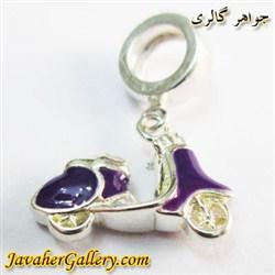 حلقه نقره دستبند و گردنبند پاندورا آویزی بنفش با طرح موتور