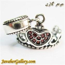 حلقه گردنبند و دستبند نقره پاندورا آویزی طرح تاج با نگینهای یاقوت