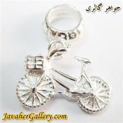 حلقه نقره دستبند و گردنبند پاندورا آویز دار طرح دوچرخه درخشان