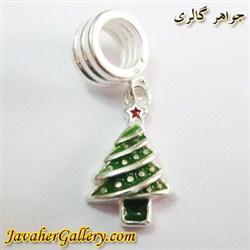 حلقه نقره دستبند و گردنبند پاندورا آویز دار طرح کاج سبز