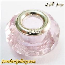 حلقه گردنبند و دستبند نقره پاندورا با کریستال صورتی زیبا