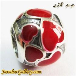 حلقه گردنبند و دستبند نقره پاندورا اصل با مینا کاری و طرح قلبهای قرمز زیبا