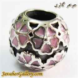 حلقه گردنبند و دستبند نقره پاندورا اصل با گلهای صورتی و زیبا