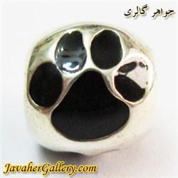 حلقه نقره گردنبند و دستبند pandora پاندورا اصل طرح پنجه سگ مشکی
