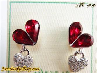 گوشواره نقره با کریستالهای سواروسکی اصل قرمز و آویز قلبی زیبا میخی