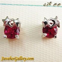 گوشواره نقره میخی با کریستالهای سواروسکی اصل قرمز و طرح ستاره