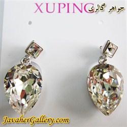 گوشواره ژوپینگ xuping میخی با کریستالهای سواروسکی اصل سفید شفاف و درخشان