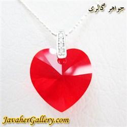 آویز سواروسکی swarovski اصل نقره با کریستال قرمز طرح قلب و نگینهای سفید