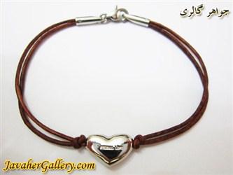 دستبند چرمی خالص و مرغوب دو رشته ای نرم قهوه ای با قلب و قفل استیل