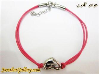 دستبند چرمی خالص و مرغوب دو رشته ای نرم صورتی با قلب و قفل استیل