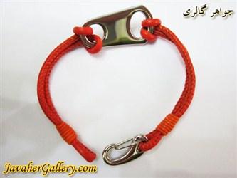 دستبند چرمی خالص و مرغوب دو رشته ای خیلی نرم نارنجی با دوخت عالی و پلاک و قفل استیل