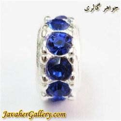 حلقه نقره گردنبند و دستبند pandora پاندورا با نگینهای یاقوت سنتاتیک آبی