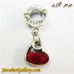 حلقه نقره گردنبند و دستبند pandora پاندورا آویزی طرح قلب قرمز